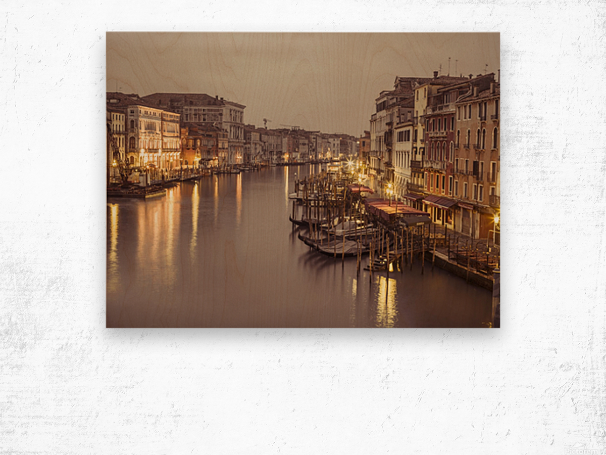 The Grand canal at dusk, Venice, Italy Wood print