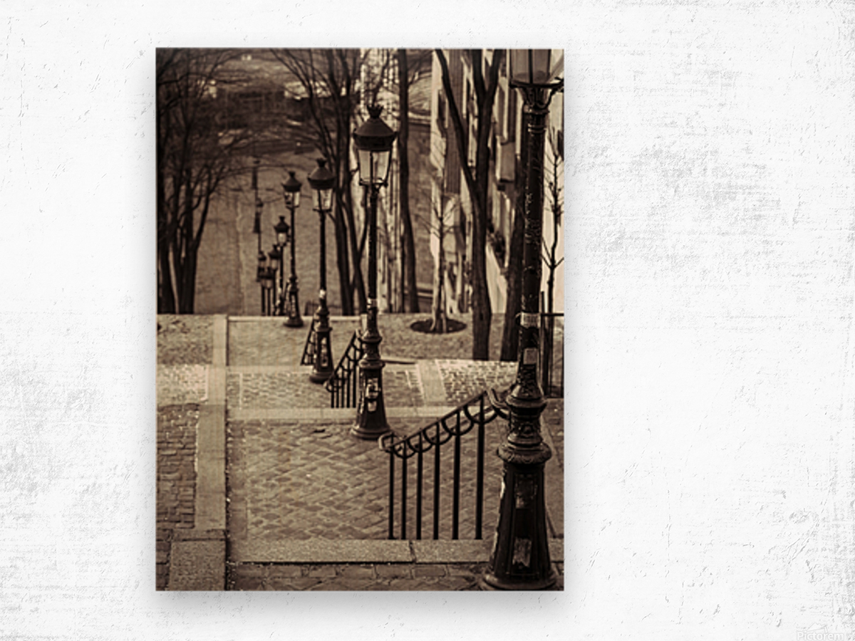 The famous staircase in Montmartre, Paris, France Wood print
