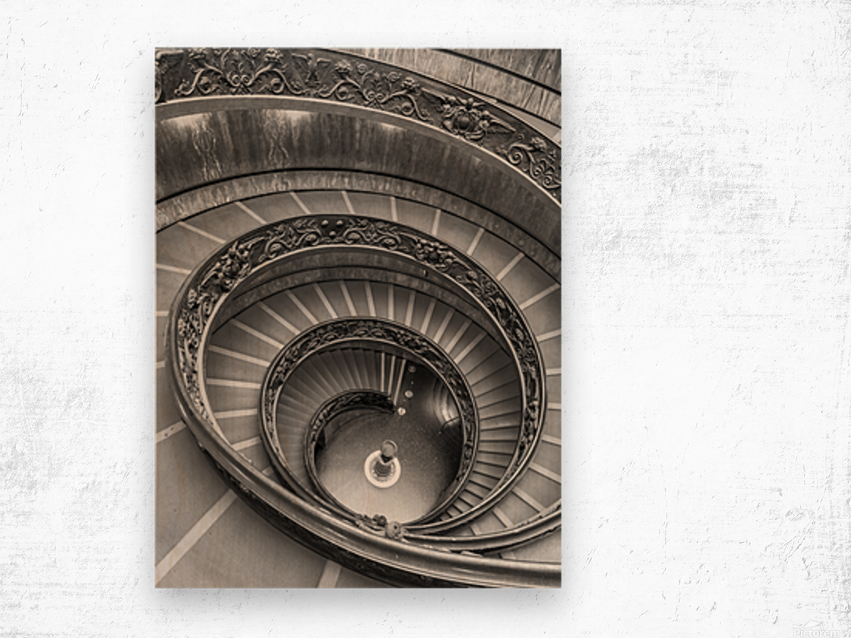Spiral staircase at the Vatican museum, Rome, Italy Wood print