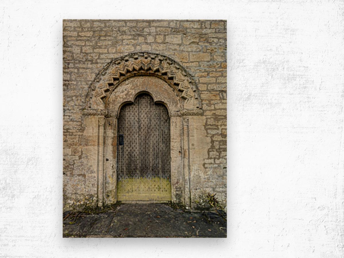 Front door of old cottage in Bibury,  Cotswold, UK Wood print