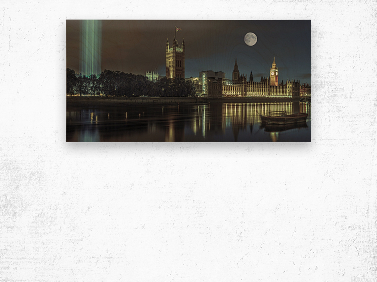 Column of spectra lights with Westminster Abby, London, UK Wood print
