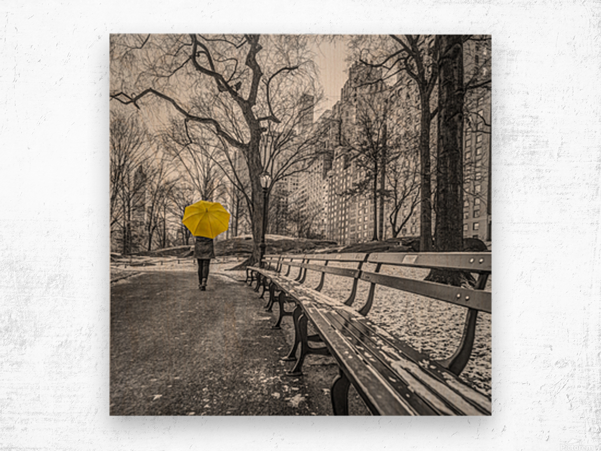 Tourist on pathway with Yellow umbrella at Central park, New York Wood print