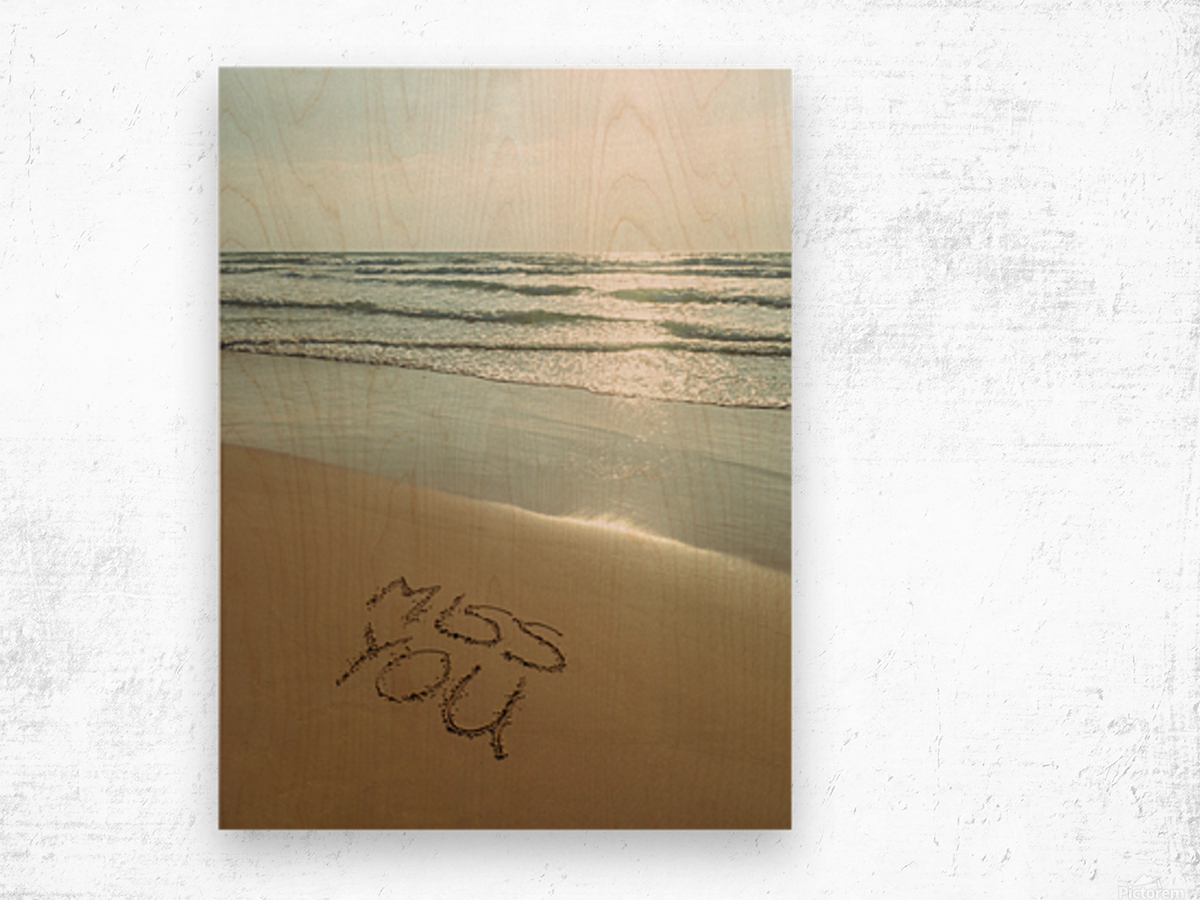 Miss You written on the beach Wood print