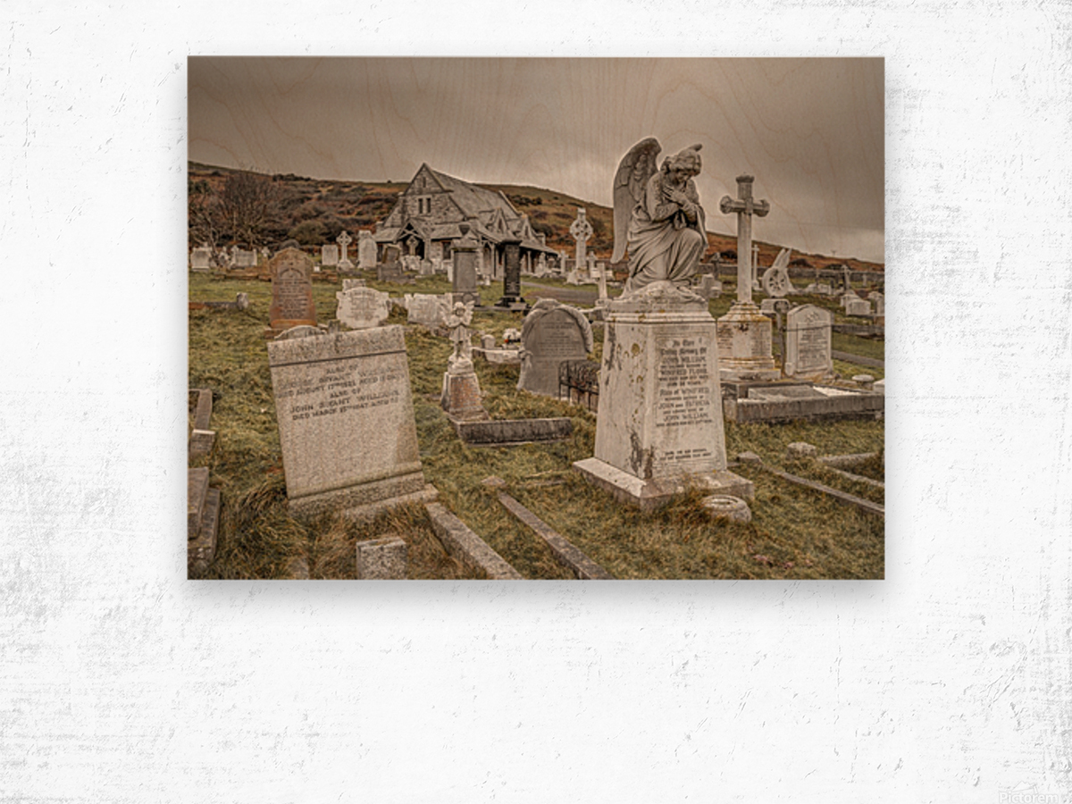 Cemetery in Llandudno, North Wales Wood print