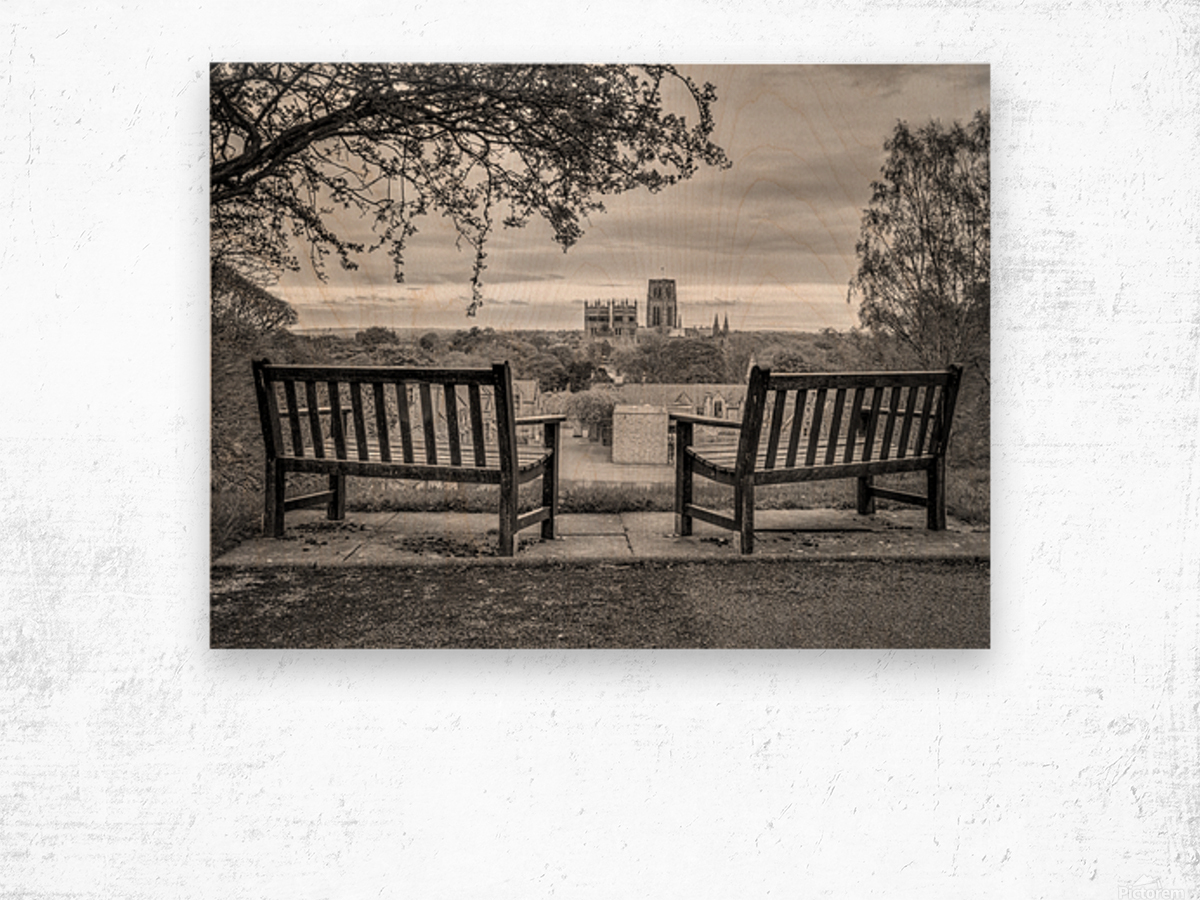 Park benches with Durham Cathedral in background Wood print