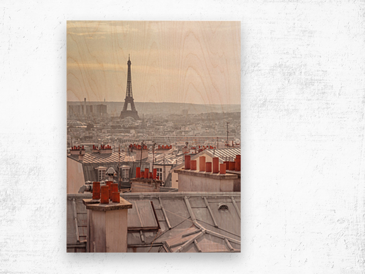 Eiffel Tower seen through the window of an apartment in Montmartre, Paris, France Wood print