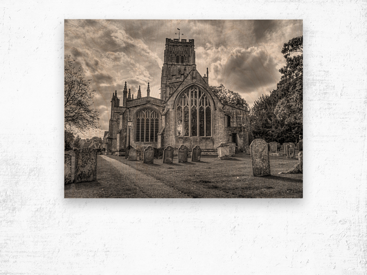 Old church in Northleach town, Cotswolds, UK Wood print
