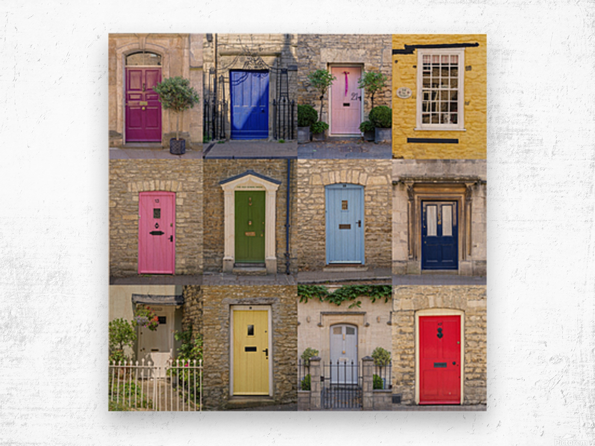 Collage of old doors, Cotswold, UK Wood print