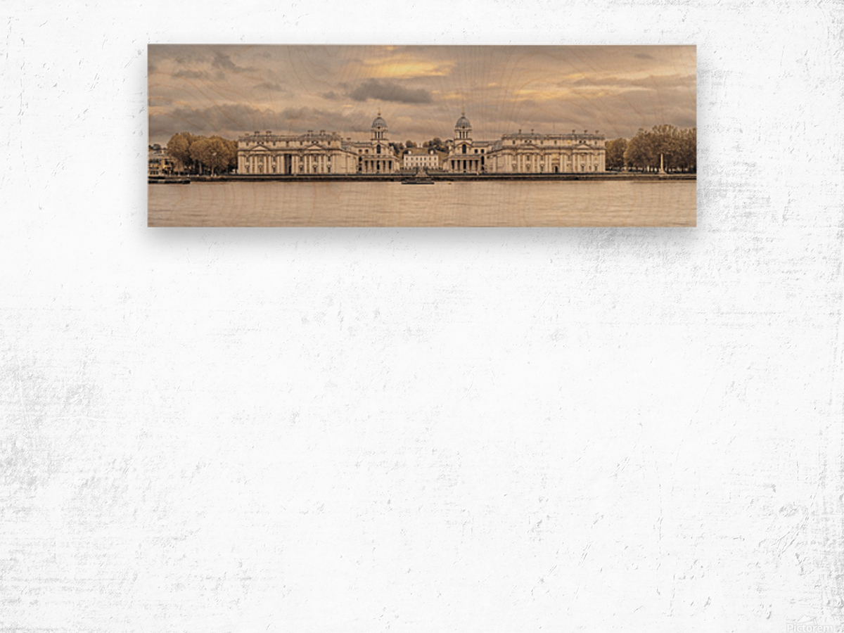 Royal Naval College at Greenwich with a view from the River Thames Wood print