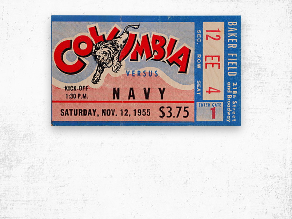 1955 Columbia vs. Navy Wood print