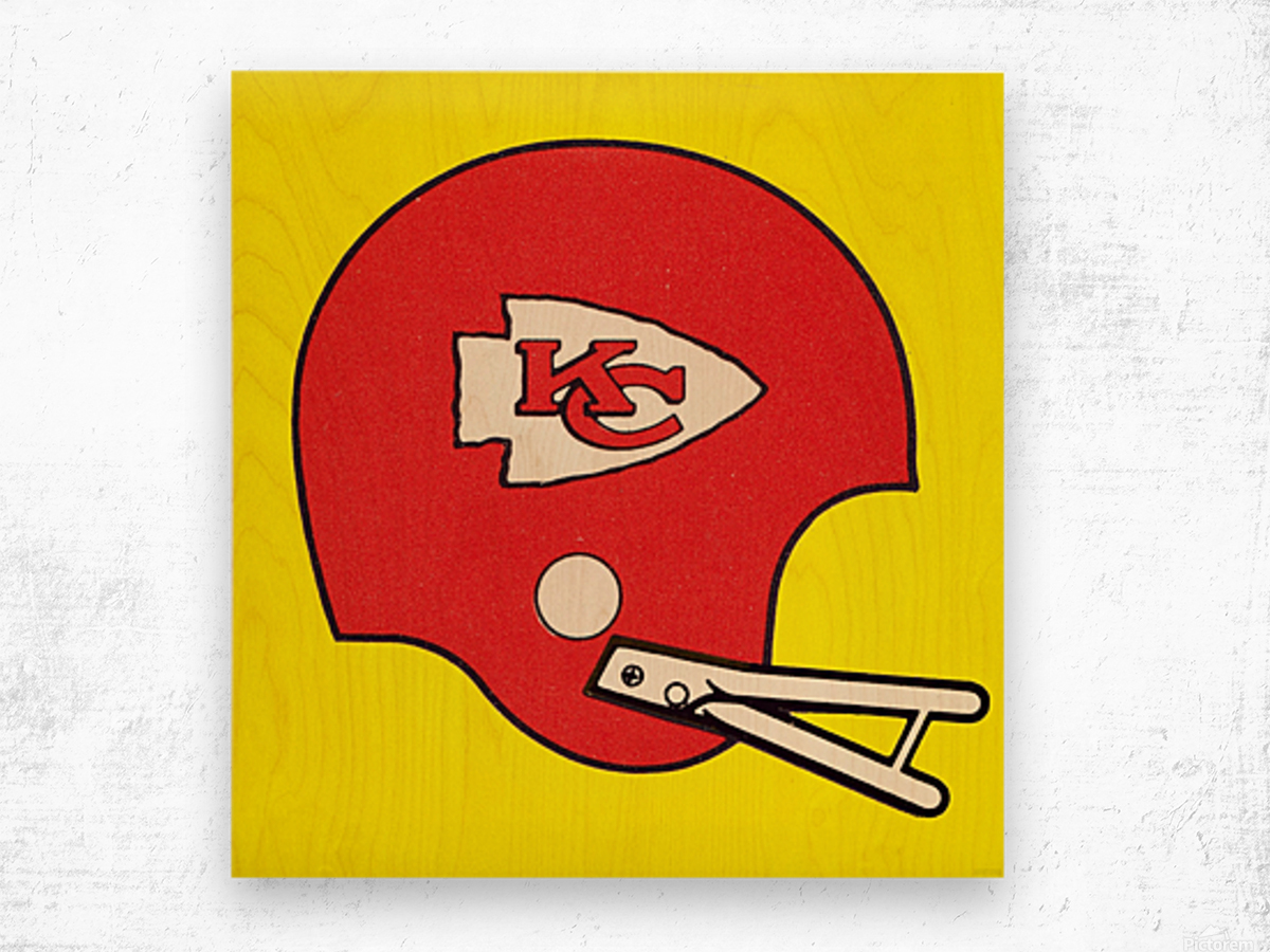 1982 Kansas City Chiefs Helmet Art Wood print