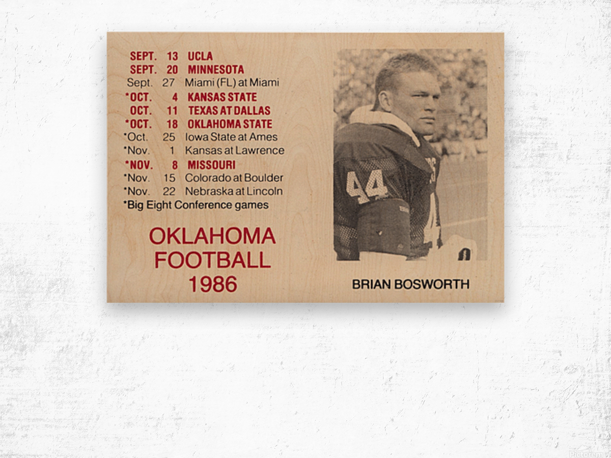 1986 Oklahoma Football Brian Bosworth Wood print