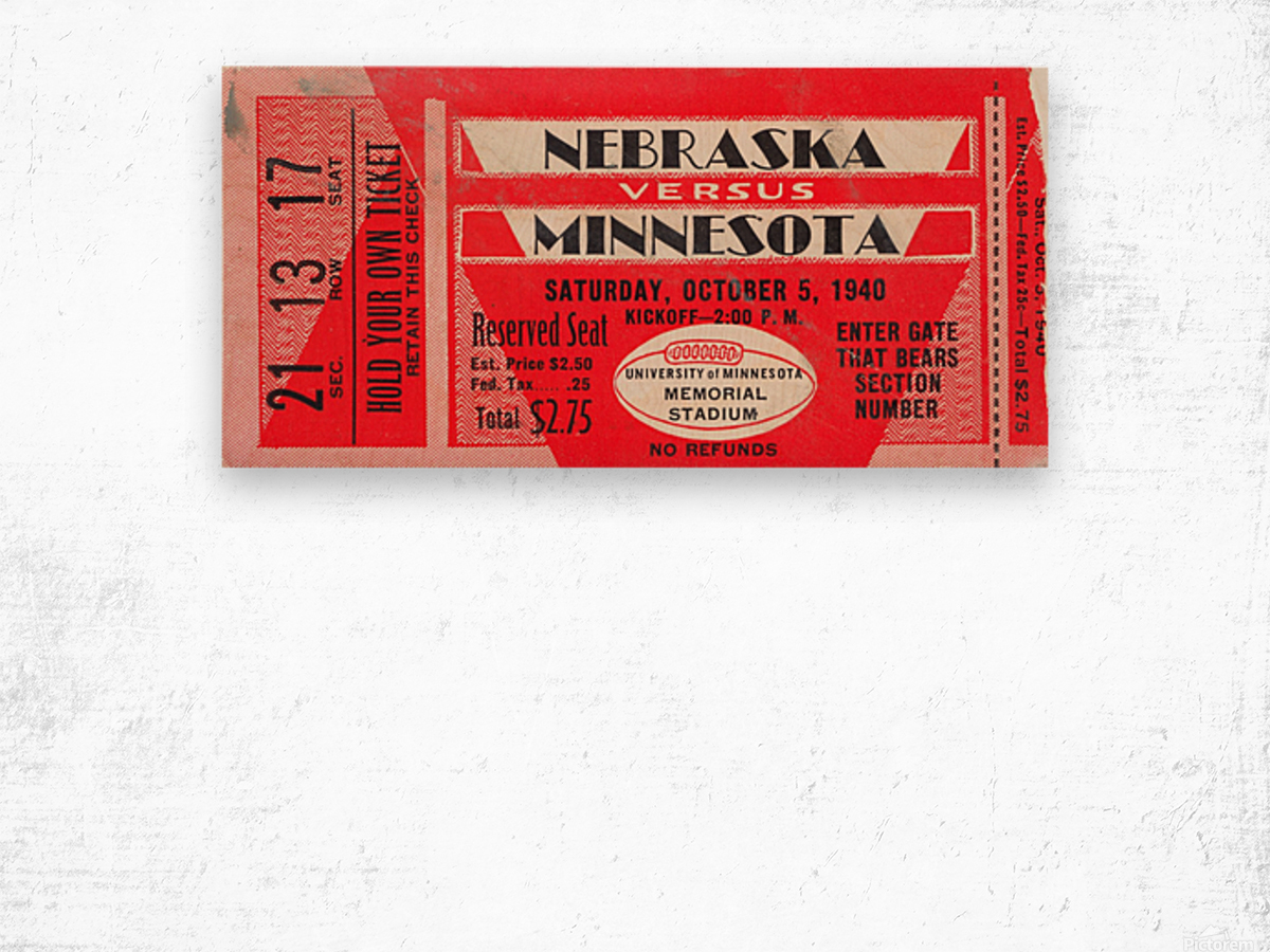 1940 Nebraska vs. Minnesota Wood print