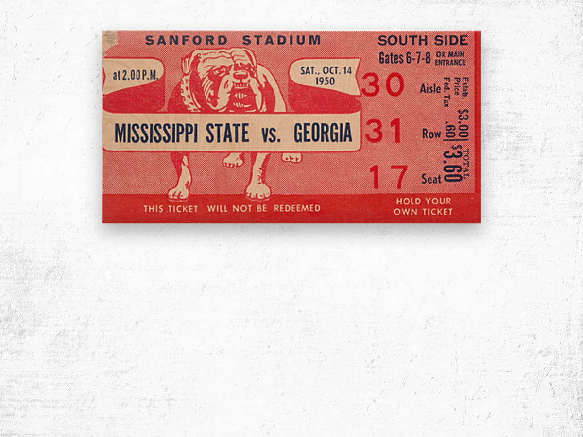 1950 Mississippi State vs. Georgia Wood print