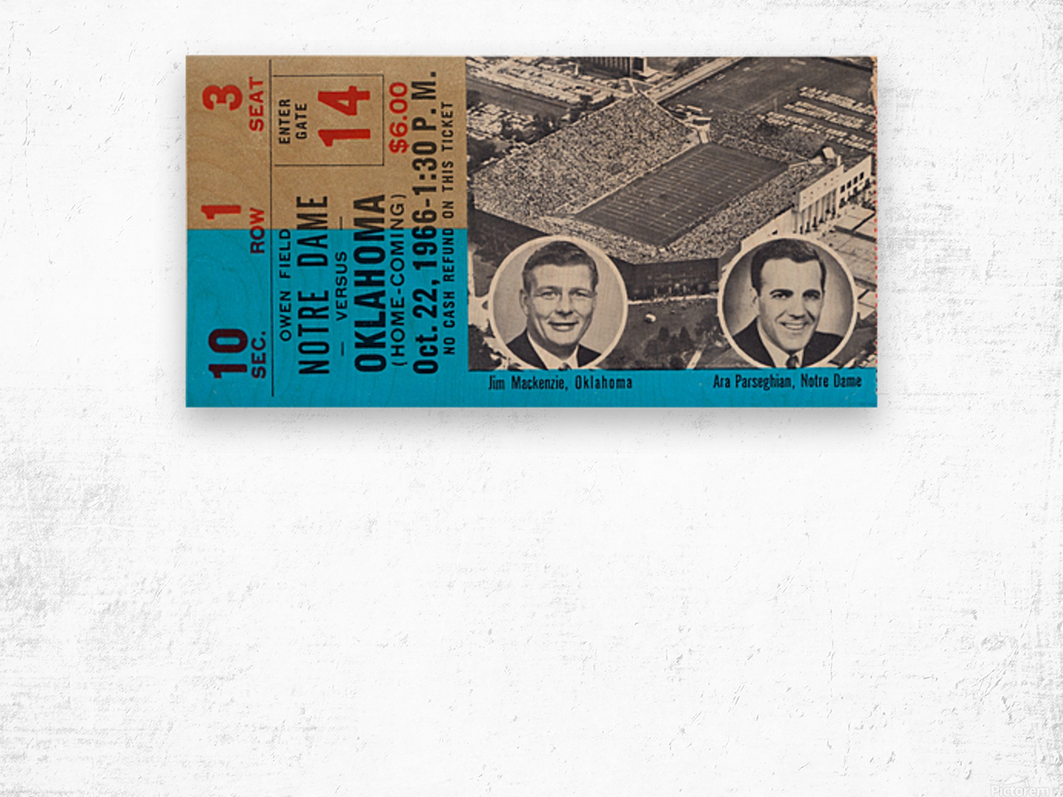1966 Oklahoma vs. Notre Dame Wood print