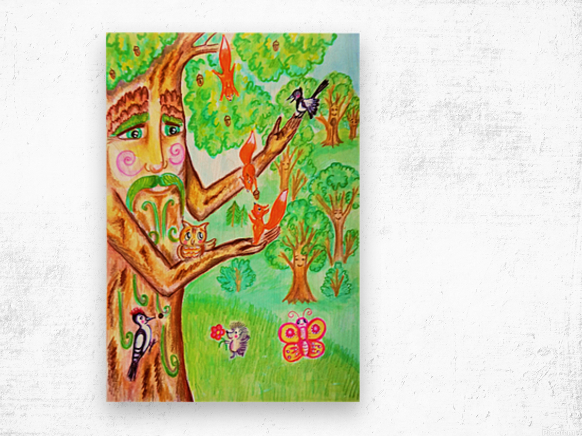 The tree of the prophetic wood and the friends of the wood Wood print