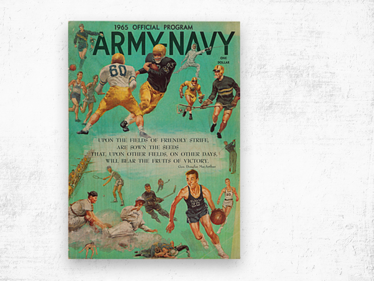 1965 Army vs. Navy Football Program Wood print