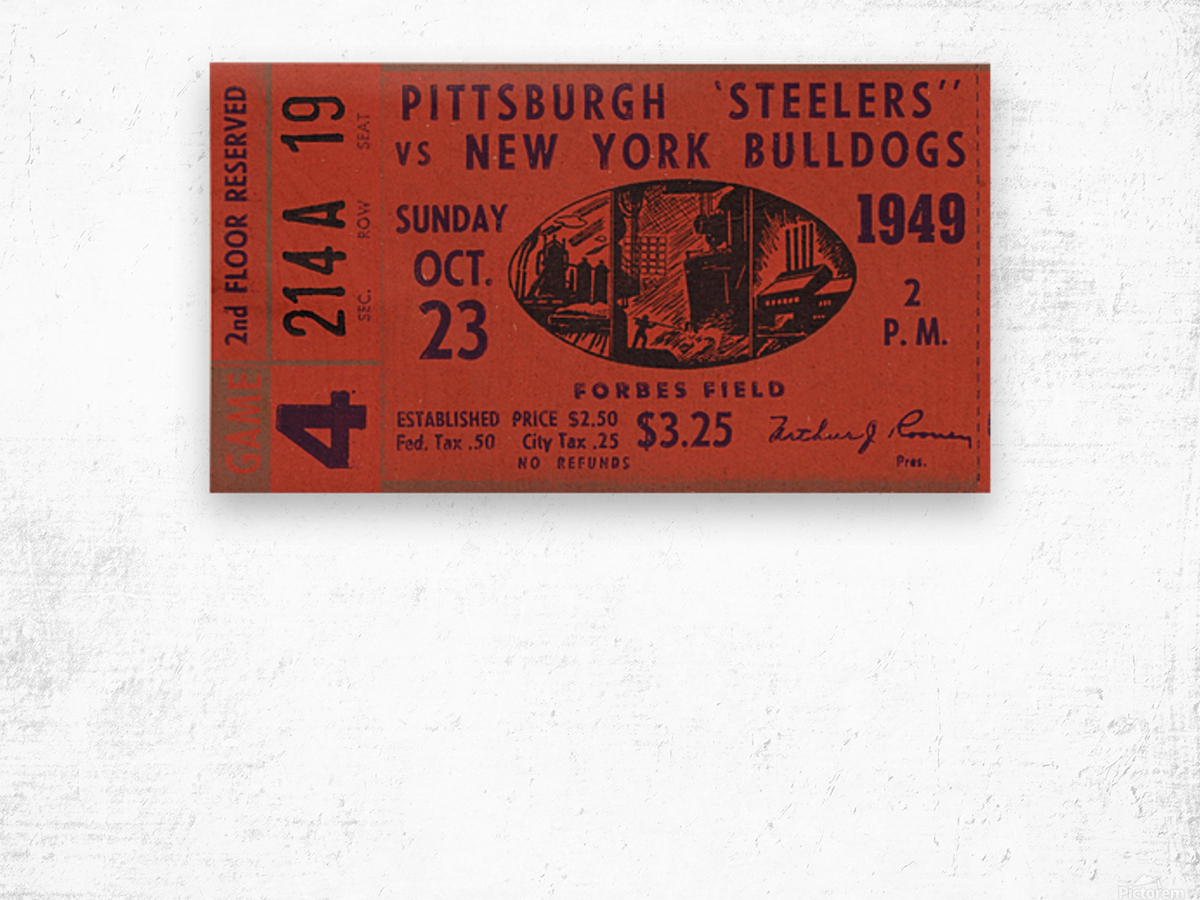 1949 Pittsburgh Steelers vs. New York Bulldogs Wood print