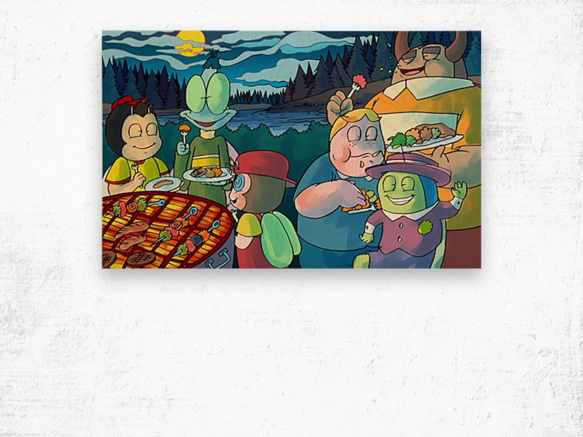 Summer Camp - Cookout  Wood print