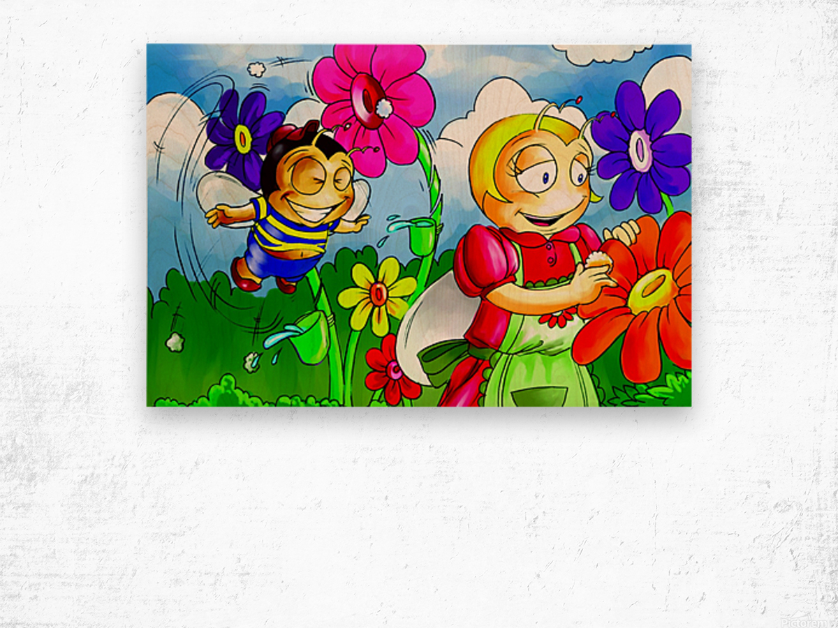 Mother Bee at Work - Bugville Critters Wood print