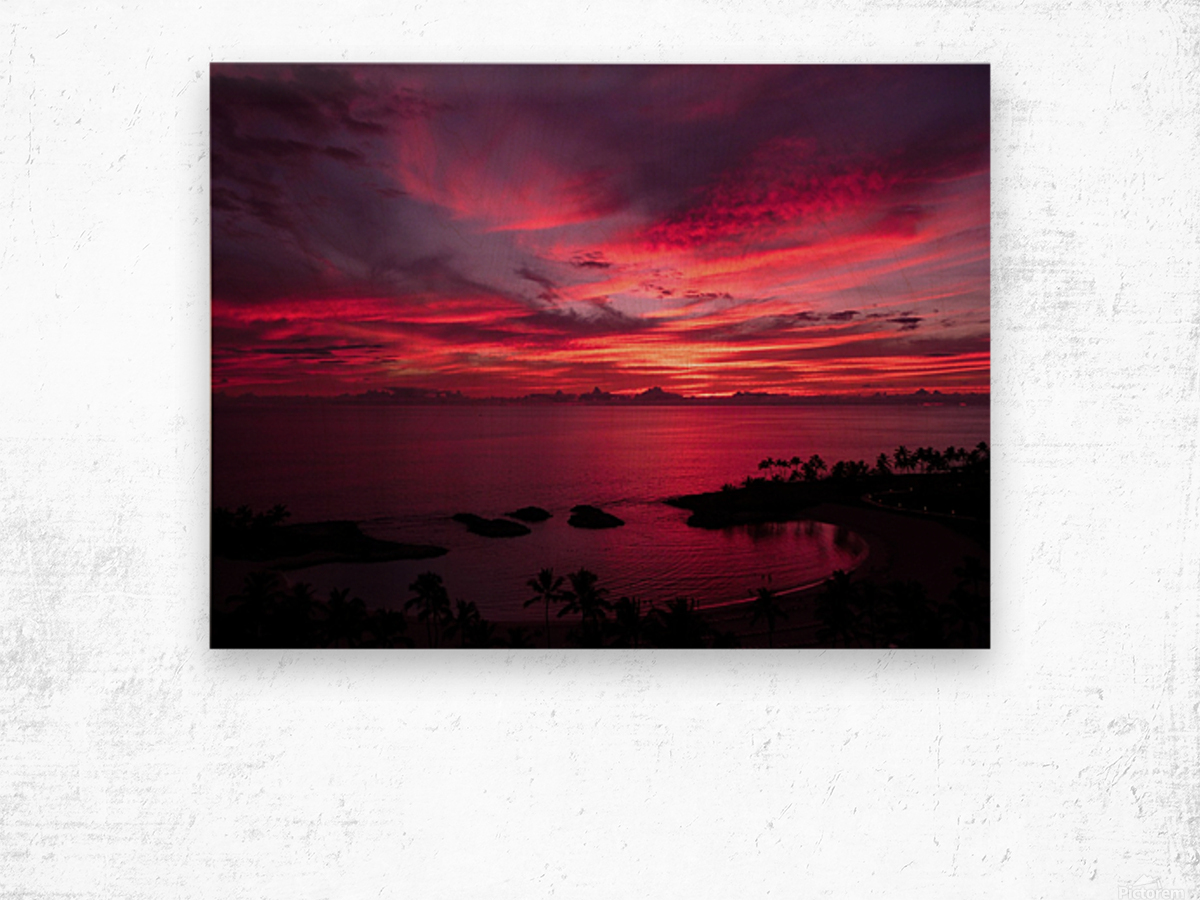 Bliss One - Pink and Purple Kissed Skies Over Hawaii Wood print