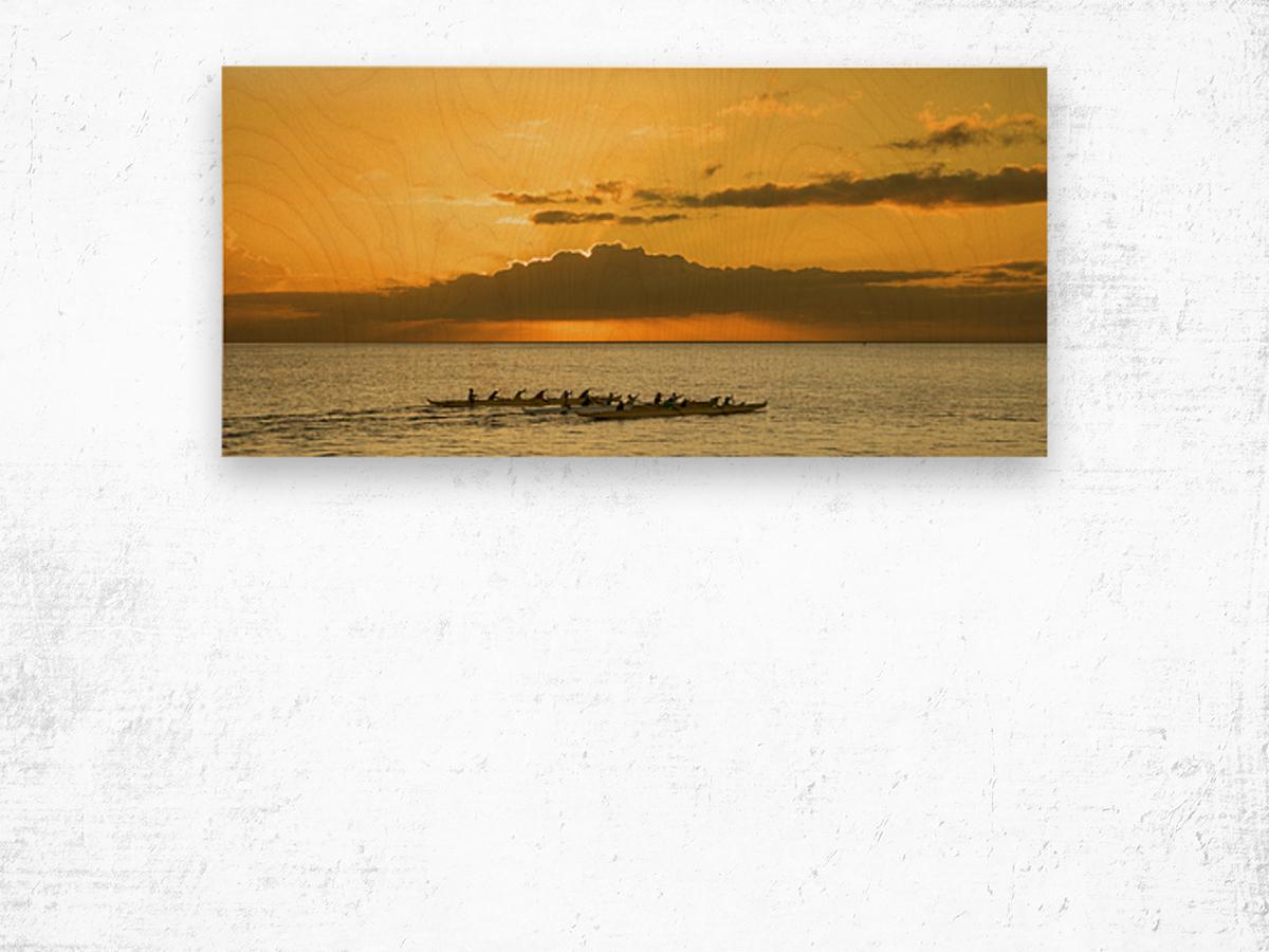 Long Canoes at Sunset Wood print