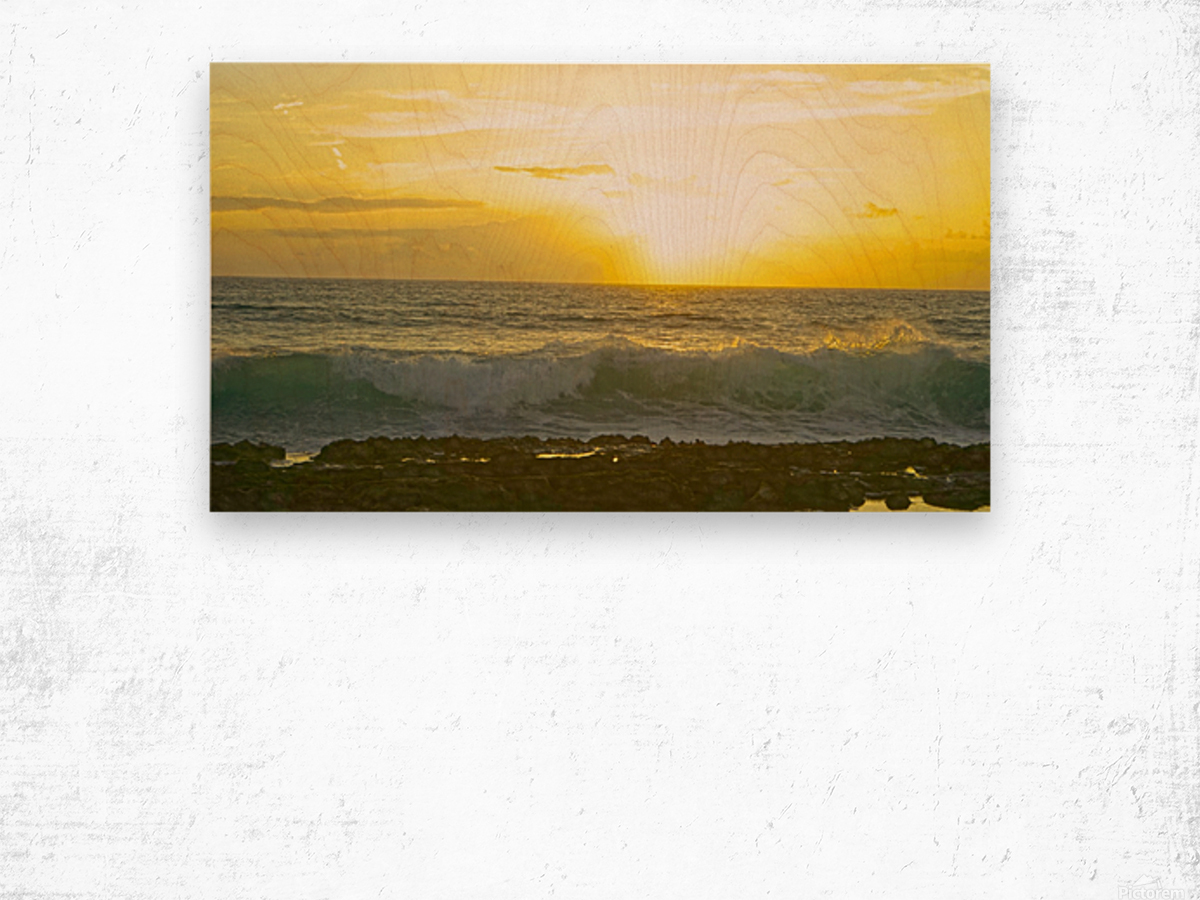 Waves at Sunset Wood print