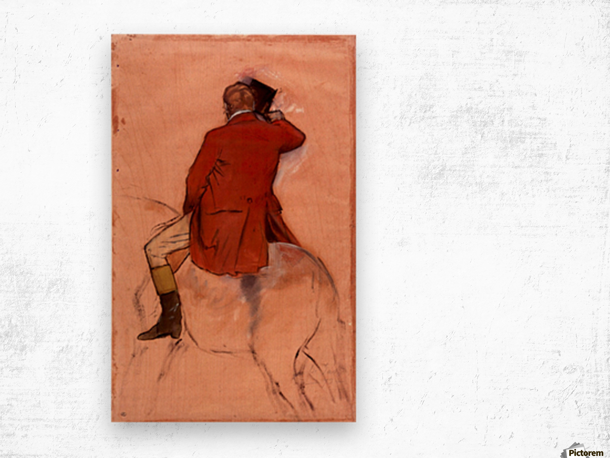 Rider with red jacket by Degas Wood print