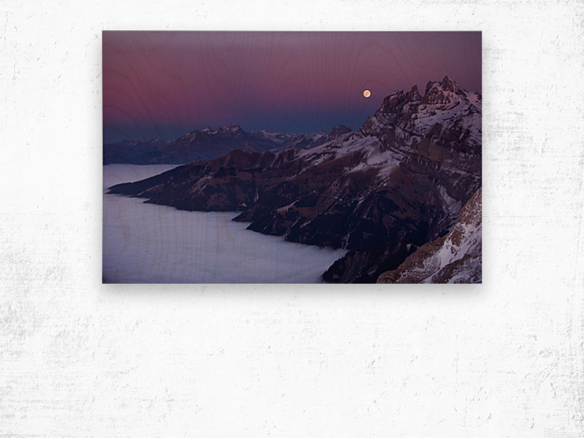 Full Moon over a sea of clouds Wood print