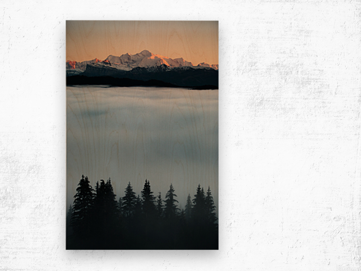 Mont Blanc and its sea of clouds Wood print