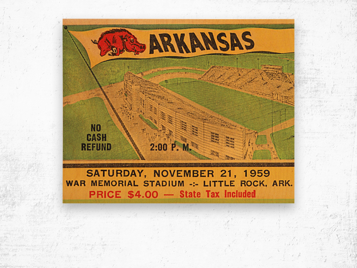 1959 Arkansas Football Ticket Art Wood print
