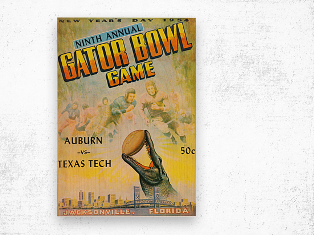 1954 Gator Bowl Auburn vs. Texas Tech Wood print