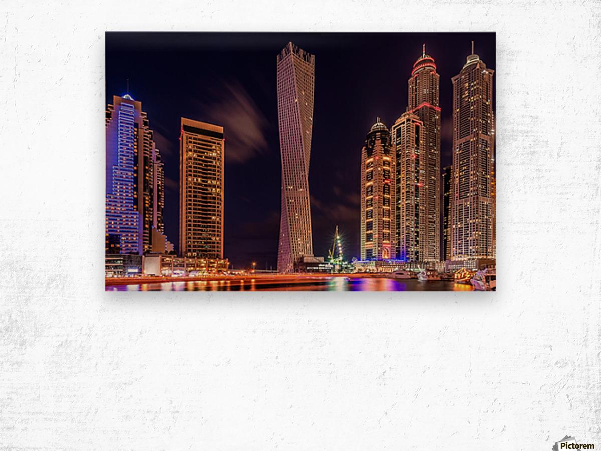 Dubai Marina Night Shot Wood print