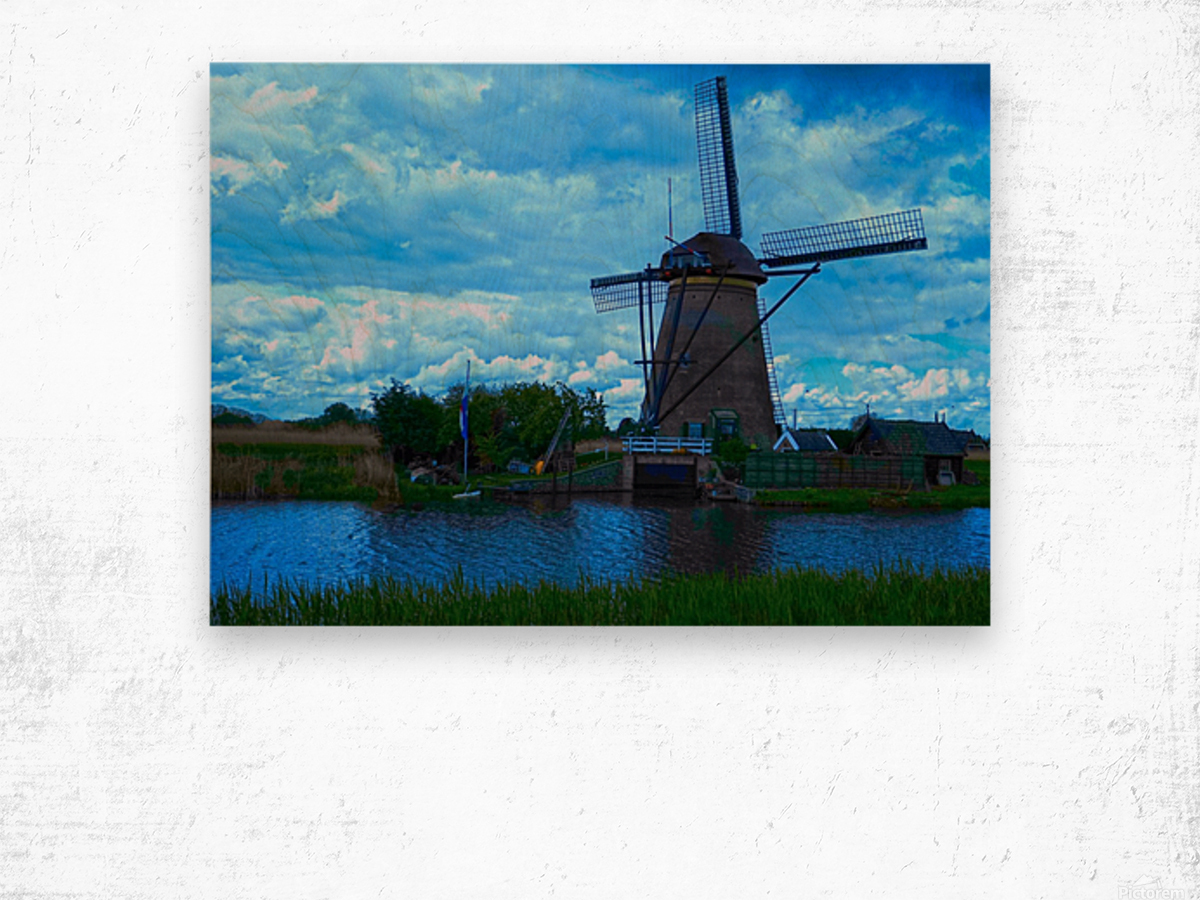 Windmill After the Storm Wood print