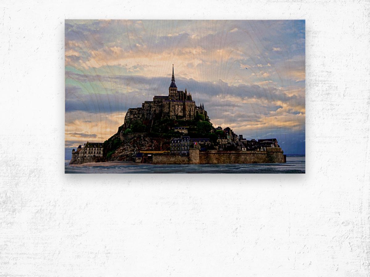 Mont St Michael Rising Tide Panorama Wood print