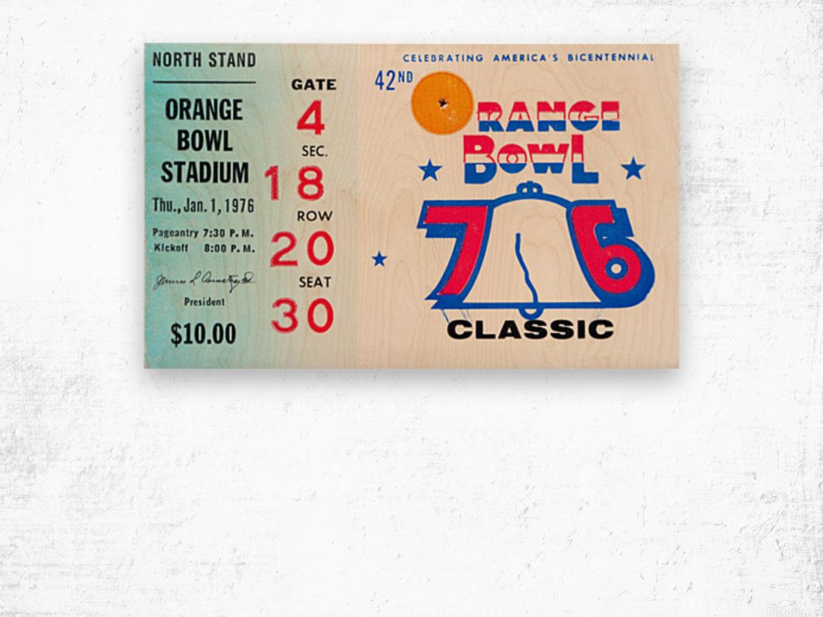 1976 Orange Bowl Ticket Stub Wall Art Wood print