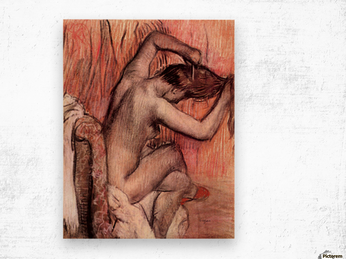 Sitting and brushing by Degas Wood print