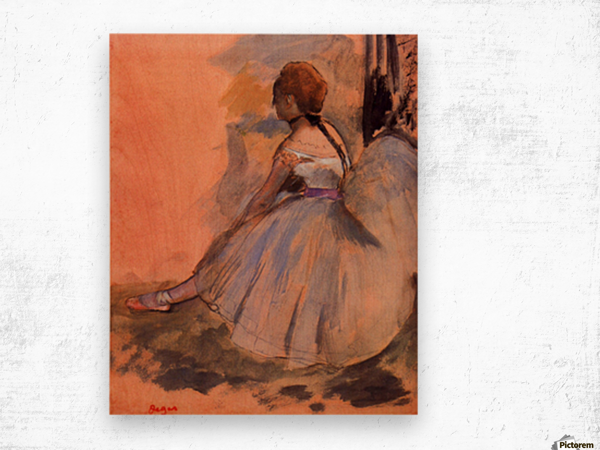 Sitting dancer with extended left leg by Degas Wood print