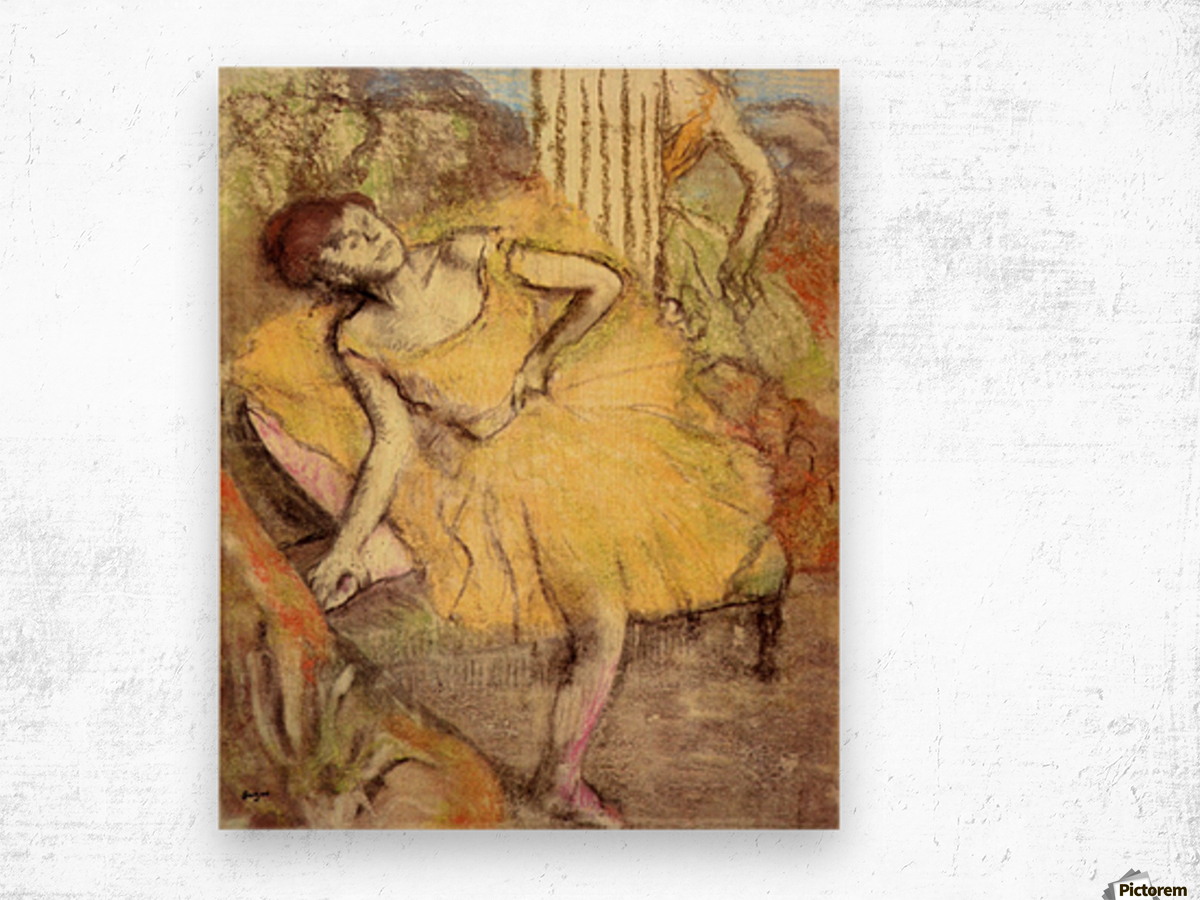 Sitting dancer with the right leg up by Degas Wood print