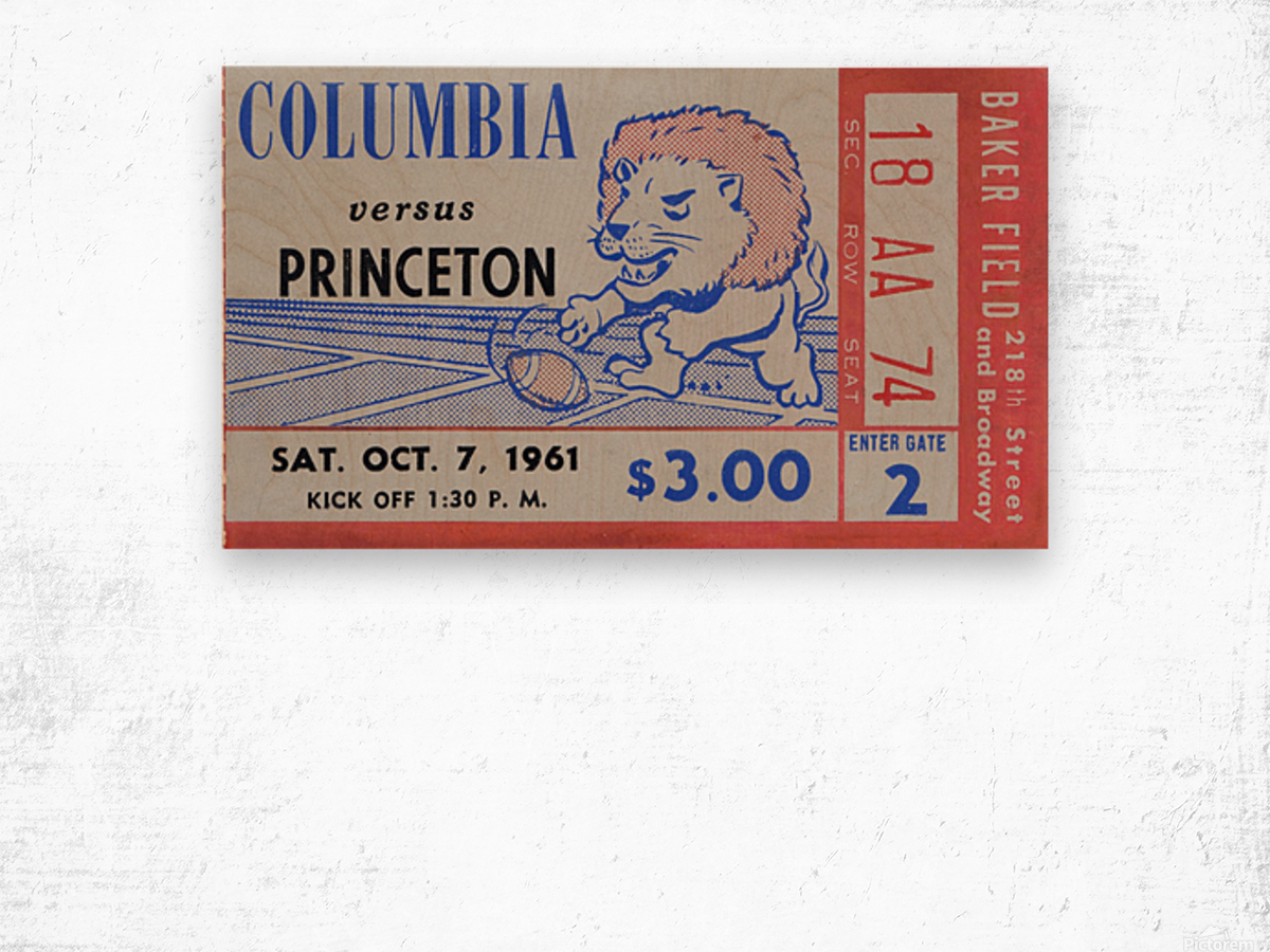 1961 Columbia vs. Princeton Ticket Stub Art Wood print