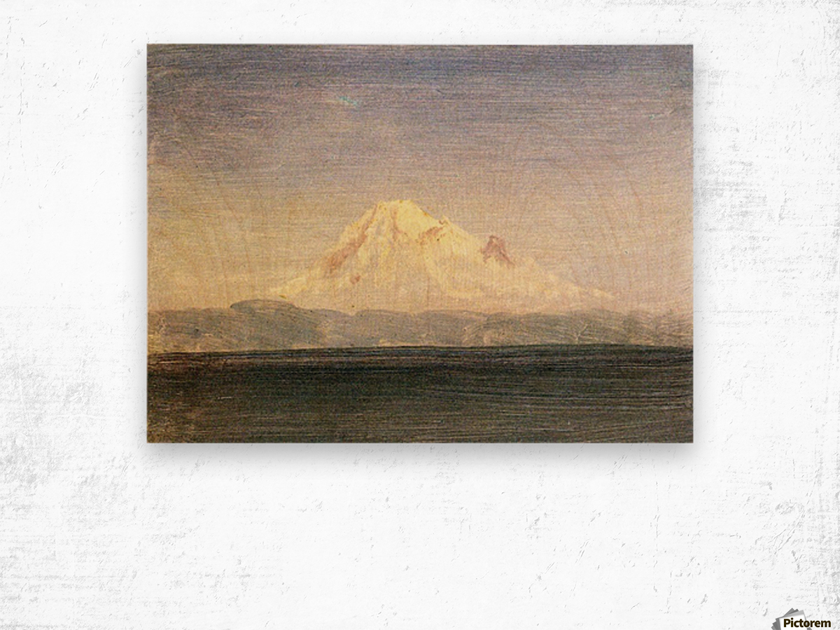 Snowy Mountains in the Pacific Northwest by Bierstadt Wood print