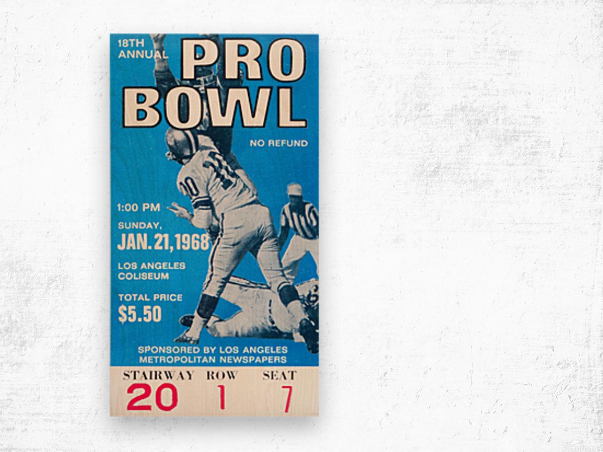 1968 Pro Bowl Football Ticket Stub Print Wood print