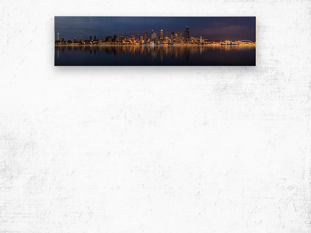 Seattle Skyline Panorama at Night Wood print