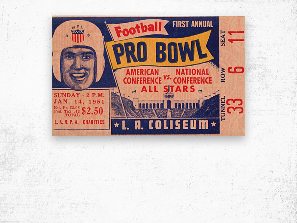 1951 First Pro Bowl Ticket Stub Art Wood print