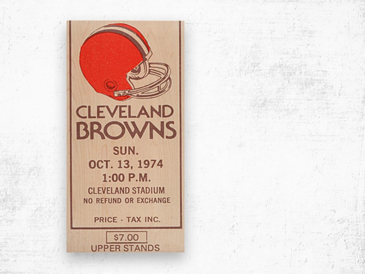 1974 Cleveland Browns Ticket Stub Art Wood print