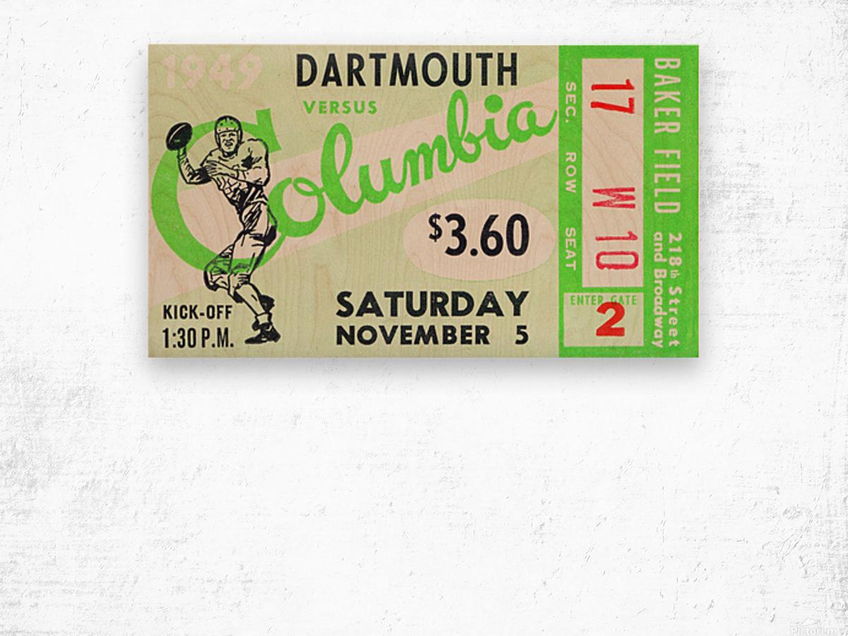 1949 Dartmouth vs. Columbia Wood print