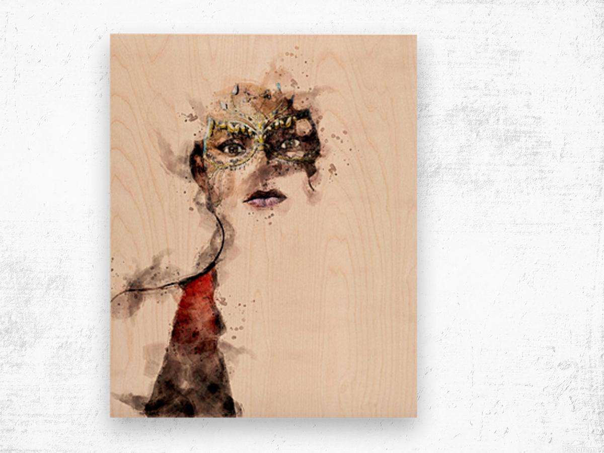 Belle dame du masque Wood print