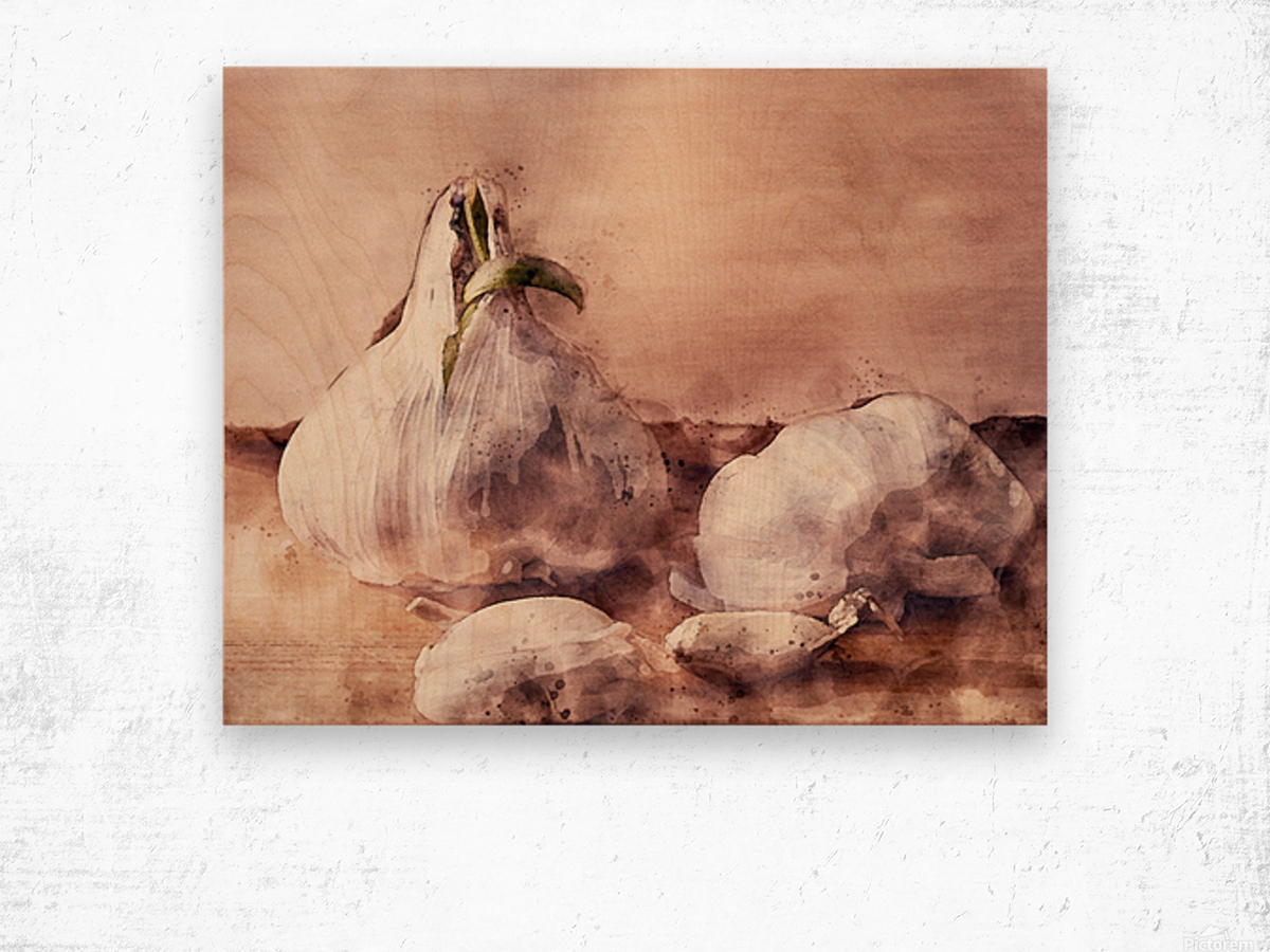 Garlic In The Kitchen Wood print