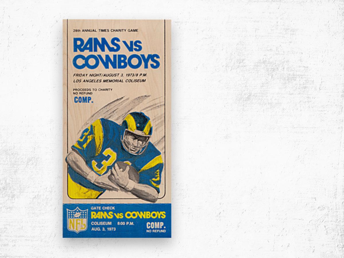 1973 LA Rams vs. Dallas Cowboys Ticket Art Wood print