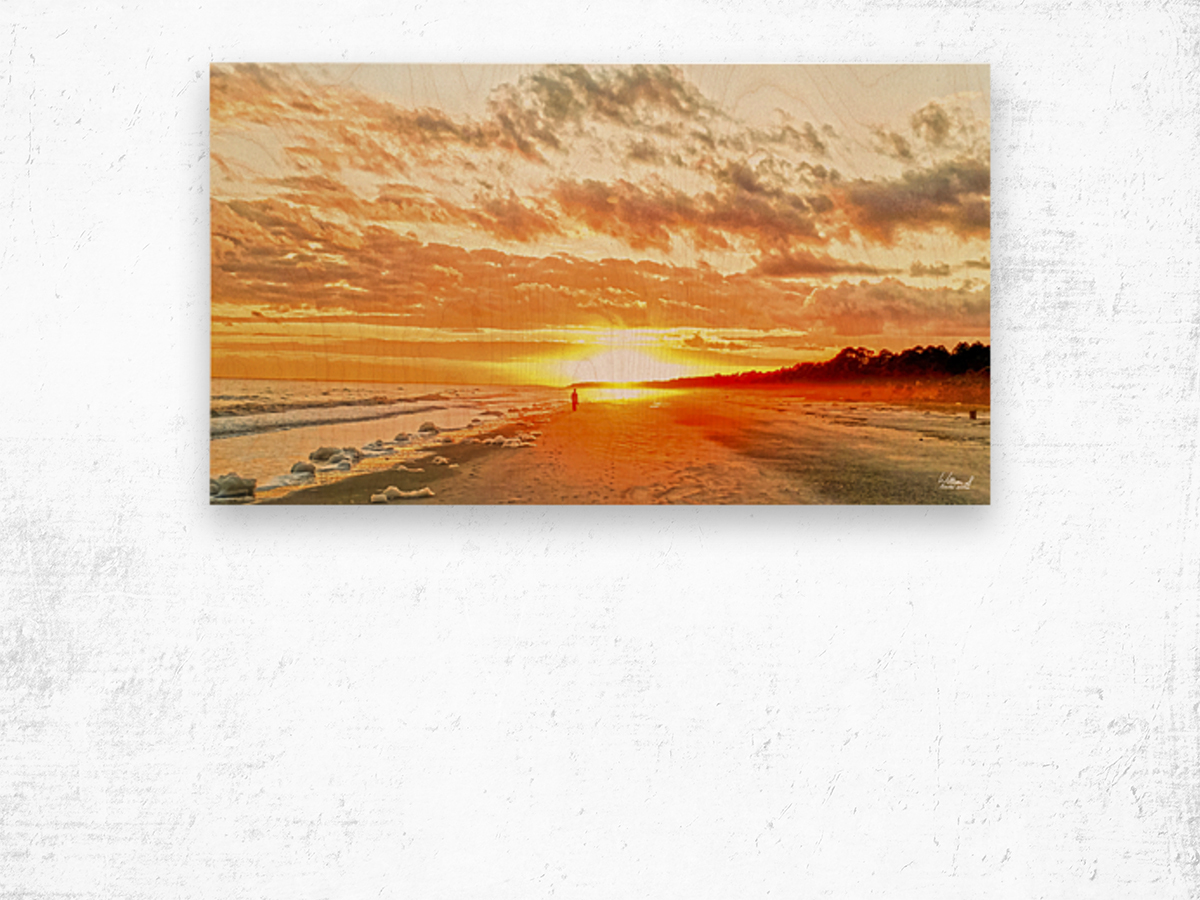 The Day Ends at the Seashore Wood print